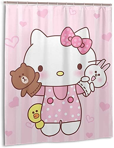 Hello Kitty Duschvorhang Badezimmer Dekor Exquisite Schimmelresistent Wasserdicht Extra Lang Badvorhang mit 12 Haken