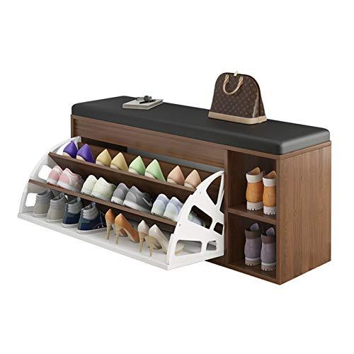 Zapatero Banco de zapatos 3-nivel zapato estantería organizador con asiento de cojín acolchado para pasillo de entrada y sistema de almacenamiento de guardarropa con puertas Organizador para Zapatos