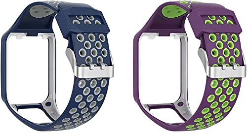 Classicase Correa de Reloj Recambios Correa Relojes Caucho Compatible con Tomtom Spark/Spark 3 / Runner 2 / Runner 3 / Golfer 2 / Adventurer - Silicona Correa Reloj con Hebilla (Pattern 1+Pattern 4)