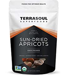 Terrasoul Superfoods Sun-Dried Apricots, 32 Ounce USDA Certified organic, Non-GMO, raw, gluten-free and vegan A source of dietary fiber, antioxidants, carotenoids, vitamin A, polyphenols Unsulphured, with no added preservatives Makes a deliciously sw...