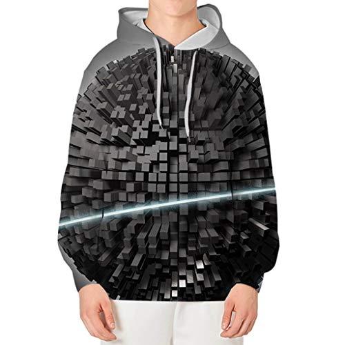 Xmiral Herren Slim Fit Hoodie Lange Ärmel Kapuzenpullover 3D Druck Farbig Sweatshirt Pullover Hooded Streetwear Hemden Strickwaren(l Grau,XXL)