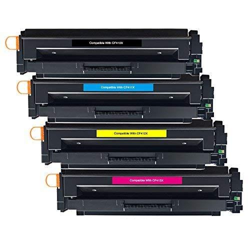 BeOne HP 410X Cartuchos de tóner compatibles CF410X CF411X CF412X CF413X, Trabajados con HP Color Laserjet Pro MFP M477fdw M477fnw M477fdn M452dn M452nw M452dw M377dw