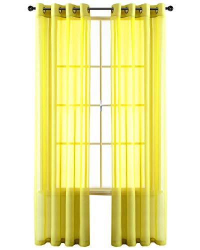 GoodGram 2 Pack Ultra Luxurious High Woven Elegant Sheer Grommet Curtain Panels - Assorted Color (Yellow)