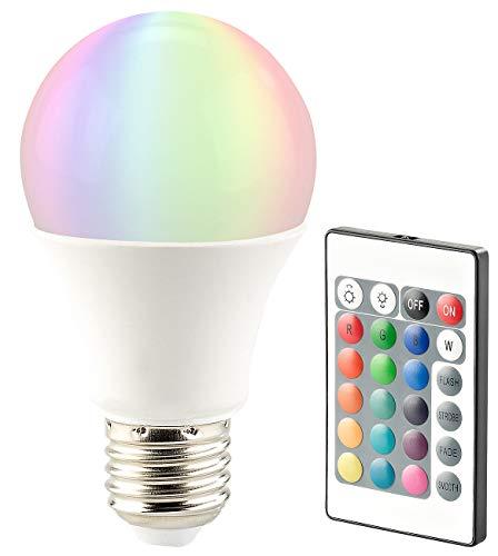 Luminea Farblampe: LED-Lampe, Color RGB & Warmweiß, E27, 10 Watt, mit Fernbedienung (RGB Glühbirne)