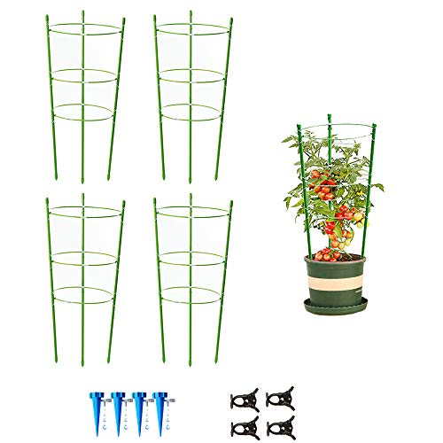 4 Pack Garden Plant Support Tomato Cage, Upgrade 24' Trellis for Climbing Plants, Plant Trellis Kits with 4 Self Watering Spikes and 20 Plant Clips (24')