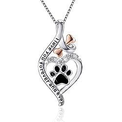 Sterling Silver & Rose Gold Bone Love Heart Dog Paw Print Pendant