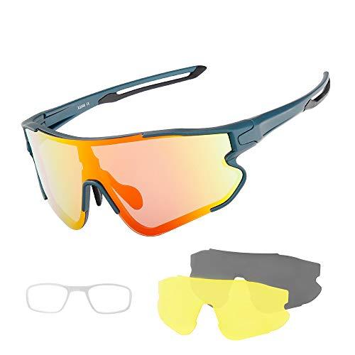 SUUKAA Occhiali Ciclismo CE Autentica Polarizzati con 3 Lenti Intercambiabili Occhiali Bici Antivento e Antiappannamento Occhiali Sportivi da Sole Anti UV da Uomo Donna per Corsa,MTB e Running