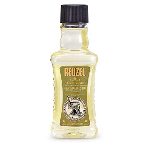 Reuzel - 3-In-1 Tea Tree Shampoo - Shampoo Conditioner & Body Wash - Beruhigt die Haut und befeuchtet die Kopfhaut - Keine Rückstände - Mit Spearmint-Duft - Reinigt von Kopf bis Fuß - 3.81 oz/100 ml