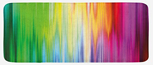 "Lunarable Rainbow Kitchen Mat, Abstract Colors Looking Like Flowing into Another Rainbow Color Schemed Artwork, Plush Decorative Kitchen Mat with Non Slip Backing, 47"" X 19"", Purple Green"