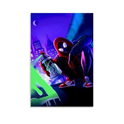 DRAGON VINES Póster de la película de dibujos animados Spider-Man Into The Spider-Verse Miles Morales con capucha Graffiti Cool HD, impresión artística sobre lienzo para pared de 20 x 30 cm