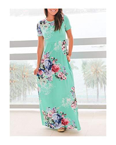 Liliduo Large Size 3XL 2019 New Summer Women Long Beach Short Sleeve O-Neck Floral Print Robe Ladies Casual Dress,0494 Light Green,XL