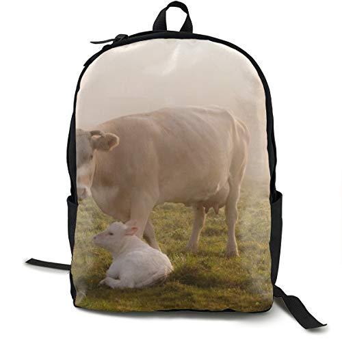 Kuh Kalb Grass Pflege Tiere Schulrucksack Schulrucksack Büchertasche Reise Laptop Rucksack Casual Daypack für Kinder Studenten Erwachsene