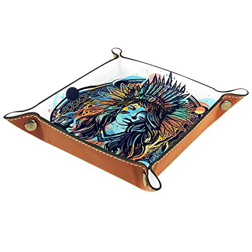 AITAI Bandeja de valet de cuero vegano, organizador de mesita de noche, placa de almacenamiento para escritorio, diseño tribal de mujer india