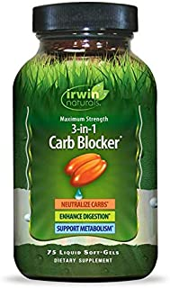 Irwin Naturals Maximum Strength 3-in-1 Carb Blocker - Neutralize Carbohydrates and Support Metabolism - 75 Liquid Softgels