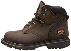KEEP IT COMFORTABLE: Our Timberland PRO Pit Boss soft toe is what a durable work boot should be: Safe, tough & comfortable. These leather work boots meet ANSI safety standards & feature slip-, oil- & abrasion resistant outsoles for increased traction...