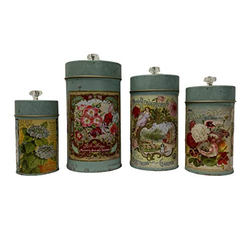 'Garden' Retro Food Safe Tin Canisters, Set of 4
