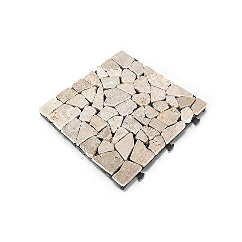 Courtyard Casual 5117 Outdoor Deck Tiles, 12' x 12', Stone White, 6 Count