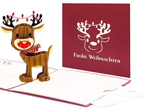 3D Pop Up Weihnachts-Karte, X-Mas-Karte, mit einem Rentier und Frohe Weihnachten Aufschrift. Mit einem integrierten kleinen Umschlag für ein Gutschein- oder Geschenkkarte mit Glitzer-Effekt