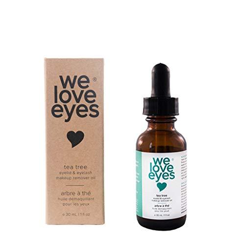 We Love Eyes- All Natural Tea Tree Eye Makeup Remover Oil - Waterproof Mascara Eyeliner - Wipe away Bacteria, Demodex, Debris - 100% Preservative Free - Australian Tea Tree Oil - 30ml