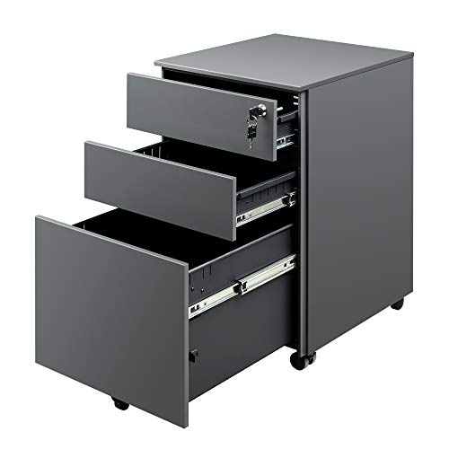 DEVAISE Locking File Cabinet, 3 Drawer Rolling Pedestal Under Desk, Fully Assembled Except Casters, Dark Gray