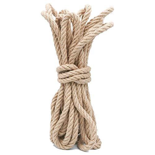 KINGLAKE 12 mm Hanfseil Natür Jute Schnur 10 m Stark Jute-Seil Bastelschnur Garten Kordel für zum Einwickeln, Haus Dekoration, Gartenbündelung