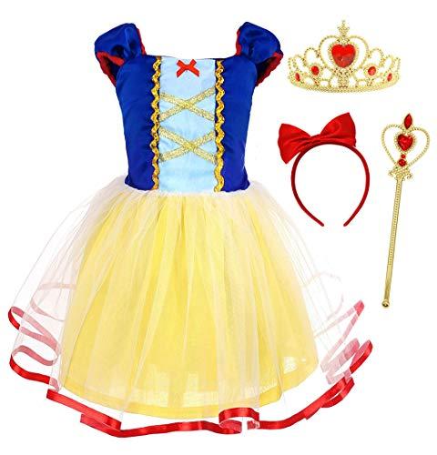 Jurebecia Costume da Biancaneve Maiden Vesti per Le Ragazze Manica Corta per Bambini Festa di Compleanno di Halloween Cosplay di Vacanze serali Costume Bambino Giallo