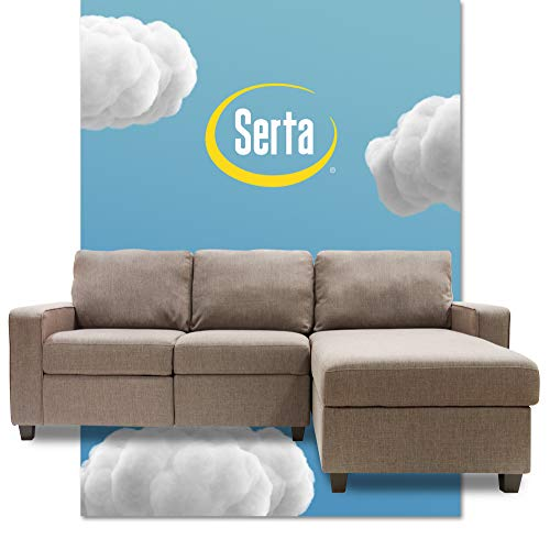 Serta Palisades Reclining Sectional Sofa with Right Chaise, Small Couch with Built-In Storage, Low-Maintenance & Family-Friendly Fabric, Oatmeal