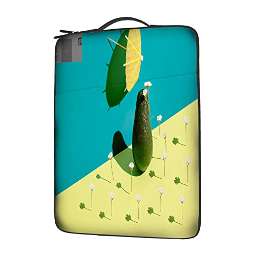 IBILIU Avocado Laptop Sleeve 15.6 Inch with Handle,Funny Fruit Green Avocado Health Food Daisy Flowers Laptop Carrying case Laptop Bag for Man Women