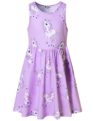 Little Girls Dresses Unicorn Outfits Kids Party Beach Sleeveless Clothes 8-9