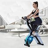 KirinSport Bicicleta estática plegable, 8 niveles de resistencia, bicicleta de fitness con sensores de pulso de mano y ordenador de entrenamiento, color plateado y azul
