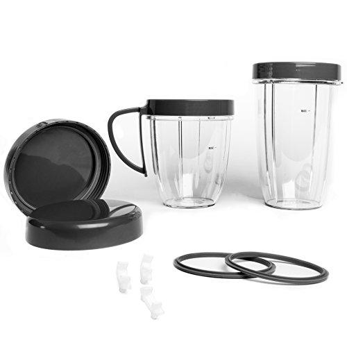 Kit di accessori per frullatore NutriBullet, tazza con coperchi richiudibili, guarnizioni, gommini, coperchi ad anello, set di 11 pezzi di ricambio per NutriBullet versione 600 W/900W