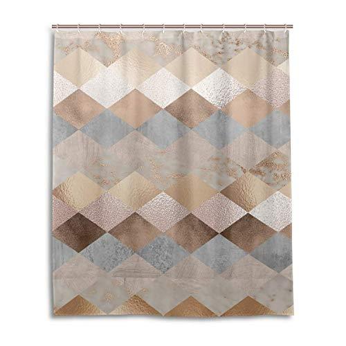 Jacklee Copper and Blush Rose Gold Marble Argyle Duschvorhang 180 * 180cm Anti-Schimmel & Wasserabweisend Shower Curtain mit 12 Duschvorhangringen 3D Digitaldruck
