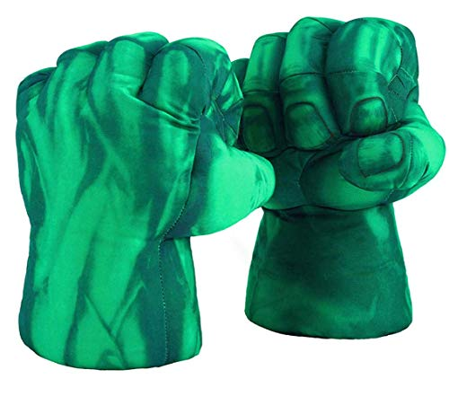 Superhero Boxing Gloves Smash Hands Fists Incredible Superheros Soft Plush Toys Cosplay Superhero Costume Gloves, Birthday Gifts for Kids, Teens, Girls Boys. (1 Pair, Green)