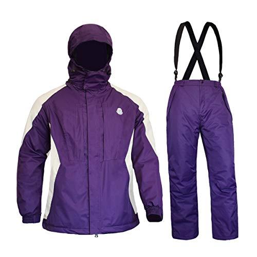FWG Women's Snow Jacket with Pants High Windproof Waterproof Technology Insulated Snowboarding Snowsuit (Purple/White, Medium)