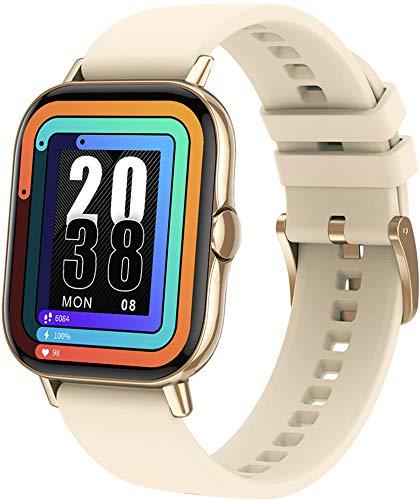 ANSUNG Smartwatch,Orologio Fitness Uomo Donna Activity Tracker, Bluetooth Chiamata, Cardiofrequenzimetro da Polso,Impermeabile IP68,Notifiche Messaggi per Android iOS(Oro)