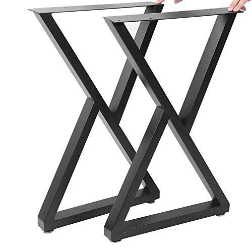 Wakects - 2 gambe per tavolo da bricolage, gambe in metallo industriale a forma di X, supporto da tavolo industriale robusto nero, adatto per tavolino, tavolino da salotto, ufficio