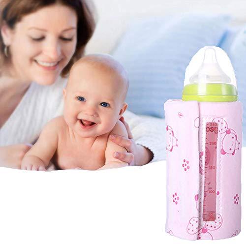 Babyflaschenwärmer USB Flasche Isolierhülse Winter Konstante Temperatur Heizung Tragbar Isolationsbeutel,Pink