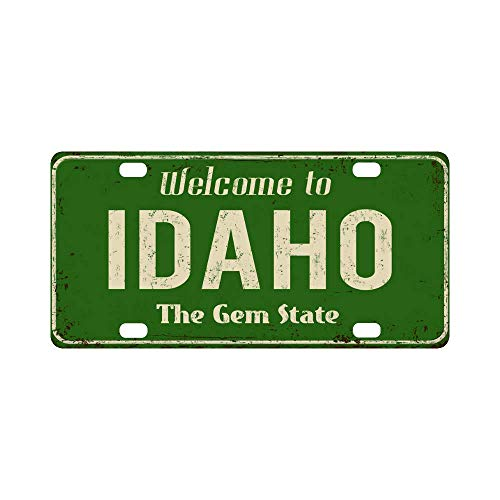 """InterestPrint Welcome to Idaho The Gem State Vintage Rusty Metal Sign Metal License Plate Tag Sign Decoration for Car Woman Man - 12"""" x 6"""""""