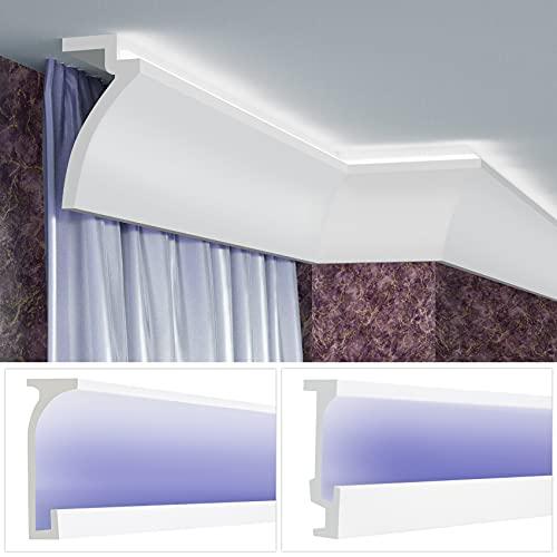 LED Vorhangblende aus PU - Indirekte Beleuchtung mit Stuckleisten, leicht & lichtundurchlässig - (16 Meter KF804) Vorhang Blende für Gardinenstangen