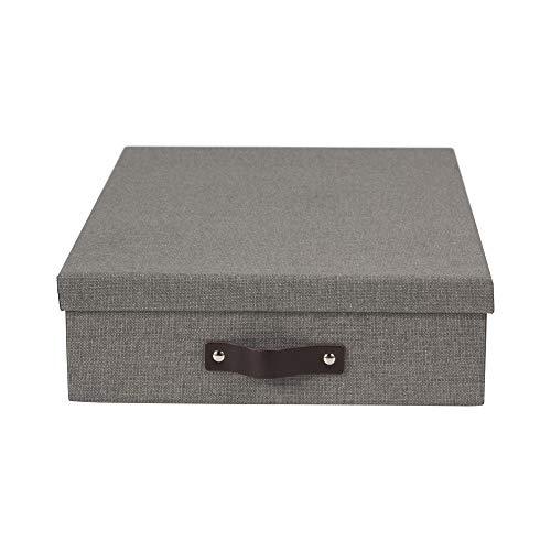 Bigso Box of Sweden Dokumentenbox für A4 Papier, Broschüren usw. – Schreibtischablage mit Deckel und Griff – Aufbewahrungsbox aus Faserplatte und Papier in Leinenoptik