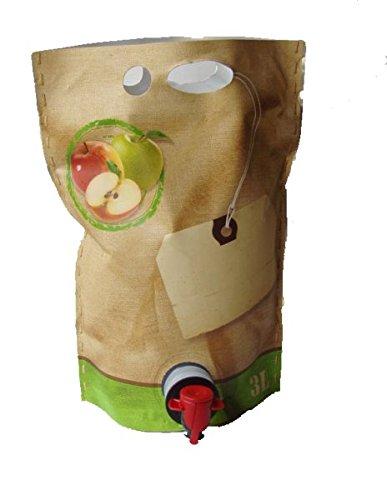 25 Stück 3 Liter Bag in Box Beutel 'Jute' selbststehend