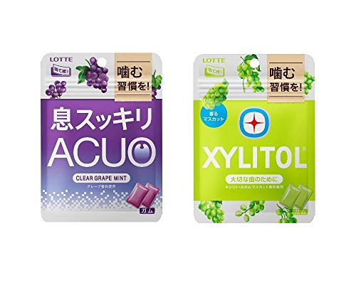 ロッテ ACUO (アクオ) パウチ & キシリトール ガム パウチ 2種12袋セット(クリアグレープミント / マスカットミント )各6袋ずつ