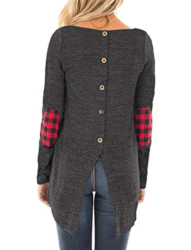 Hount Womens Round Neck Long Sleeve Shirts Elbow Patchwork Tunic Tops with Button (Deep Grey, XL)