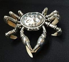 China Teeth of wolves Tibetan silver crab Pendant Statue