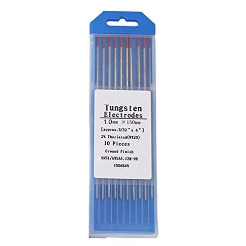 Timetided 10 unids / caja WT20 Color rojo 1,0 * 150 cabeza de electrodo de tungsteno torio aguja / varilla de tungsteno para máquina de soldar