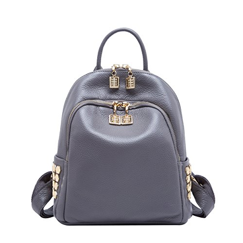 High Quality Material:Top grain cowhide leather backpack,Delicate golden hardware,Soft polyester lining,Same stitching matches the same color of backpack purse.The real leather mini rucksack, perfect for college student as fashion bag,mini travel bag...