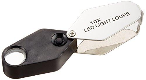 TSK 高倍率ルーペ 倍率10倍 レンズ径16mm LEDライト付き 日本製 MG-1016