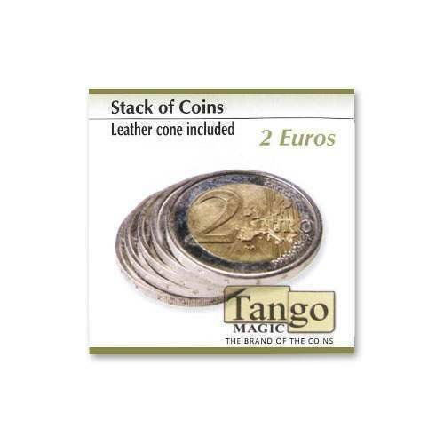 SOLOMAGIA Stack of Coins (Leather Coin Included) by Tango Magic - 2 Euro - Magic with Coins - Trucos Magia y la Magia