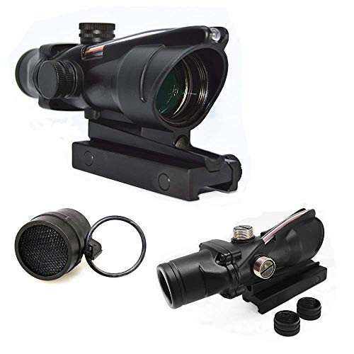FIRECLUB 4x32 Scope Hunting RifleScopes Red or Green Chevron Glass Etched Reticle Real Fiber Optics Tactical Optical Sights Scope (Red) with Killing Flash Anti-Reflection