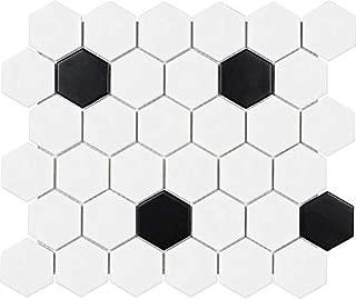 10 Sq Ft Box - 2 Inch Black and White Glazed Porcelain Hexagon Mosaic Tiles